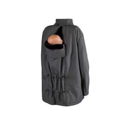 Bandicoot mens babywearing coat grey with baby sling on back
