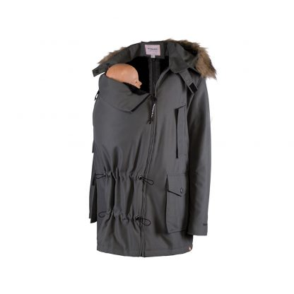 Bandicoot mens babywearing coat grey with baby on front