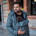 Bandicoot mens babywearing coat grey